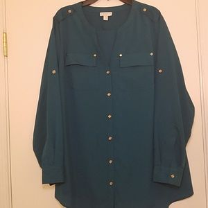 Charter club long sleeve blouse emerald green